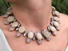 Grey Crystal Jewel Fashion Statement Necklace - Bridal