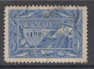 "Canada Scott #302 $1.00 Fisherman ""Fishing Resources"""