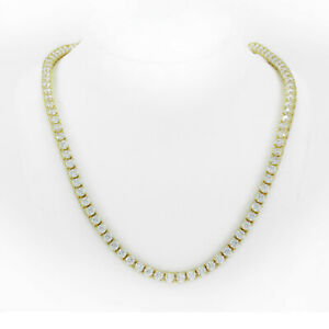 Unisex Tennis Necklace 14K Gold Finish Lab Diamonds 3mm Choker Chain 16 Inches