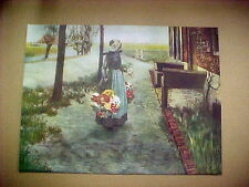 Old Dutch Flower Lady Selling Flowers Print