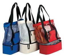 Mesh Beach Picnic Tote Bag with 12-Cans Cooler at the Bottom Blue