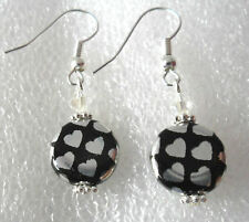 Dangle earrings - black glass disc with silver hearts