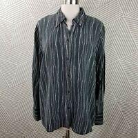 Lane Bryant Plus Size 22/24 3X Button Up Top Shirt 100% Silk Charcoal Gray