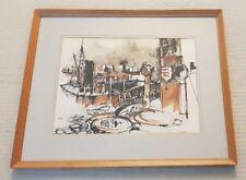 Brian C Lancaster 1931-2005 original signed mixed media painting Bristol Savages