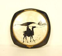 Poudrier miroir art déco orientaliste au dromadaire orientalist camel powder box