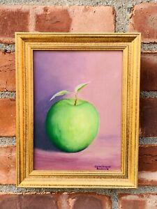 Hudson Valley New York Artist Dominique Rickard Signed Still Life. Green Apple