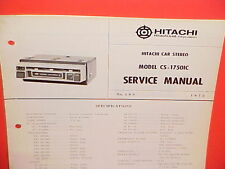 1972 HITACHI 8-TRACK STEREO TAPE PLAYER FACTORY SERVICE MANUAL MODEL CS-1750IC