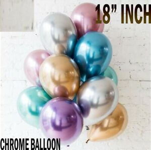 "10 PEARL LATEX METALLIC CHROME BALLOONS 18"" Helium Balloons Birthday Party UK"
