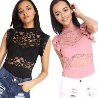 Womens Ladies Lace Party Body Top Bodysuit Pink Black