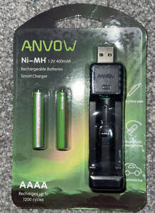 ANVOW USB Battery Charger inc 2 Pcs of Rechargeable AAAA Batteries 1.2V 400mAh