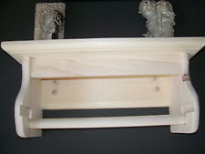 HAND MADE  SOLID  PINE PAPER TOWEL HOLDER WITH SHELF UNFINISHED. U.S.A