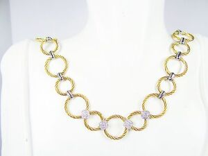 ALOR $1495 18K White Gold Stainless Steel and  0.25ct Pave Diamonds Necklace