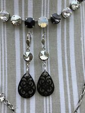 Swarovski Crystallized Element Silver and Black Lucite  Leverback Earrings