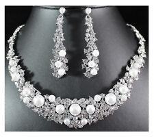 Hochzeit Brautschmuck Lange Ohrringe Kette Schmuckset Perlen Weiß Kristall Klar