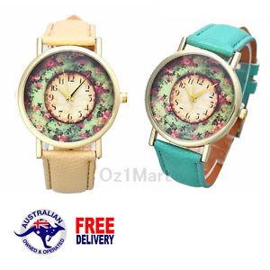 Luxury Gold Flowers Green Beige Women Leather Analog Quartz Wristwatch Hot Gift