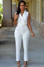 White V Neck Sleeveless Jumpsuit Catsuit Size UK 10-12