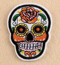"""SUGAR SKULL ROSE DAY OF THE DEAD 2 3/4"""" x 2 1/8"""" iron on patch CHOICE OF COLOR"""