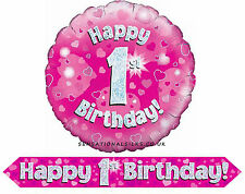 """9ft Pink Holographic Foil  Birthday Banner & 18"""" Foil Balloon Sets 4 All Ages"""