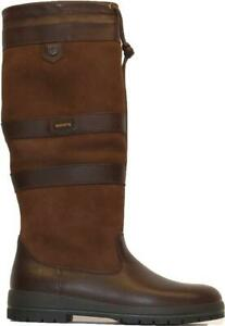 Dubbary Galway ExtraFit Wide Leg Walnut Leather Womens Pull On Long Leg Boots