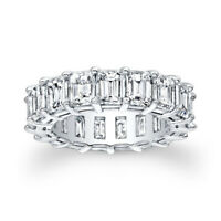 2.04 Ct Emerald Cut Diamond Wedding Eternity Band 14K White Gold Ring Size 5.5 6