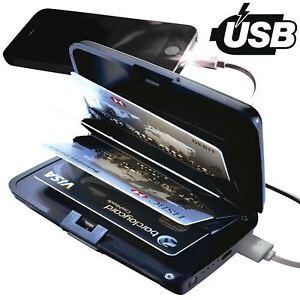 RFID Aluminium Wallet Credit Card Holder With 2000mAh Power Bank USB Charger