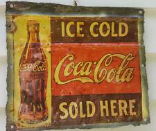 "Sign/plaque, hanging tin, the iconic ""Coca Cola"", bar/garage/man cave etc decor"