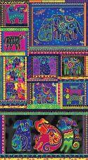 "DOGS AND DOGGIES Panel Laurel Burch Quilt Fabric 23.5"" x 42"" Clothworks 1795-56M"