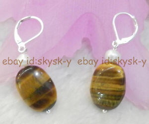 REAL NATURAL AFRICA YELLOW TIGER'S EYE OVAL BEADS & WHITE PEARL EARRINGS