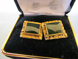 Placer Gold and12k g-f Alaskan Jade Cuff links (D611yR19)