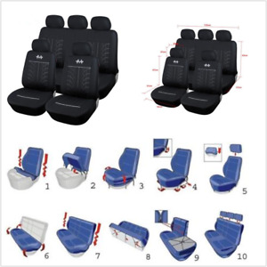 Universal Car Seat Covers Cushion Full Set Front+Rear For 5-seat Sedans Black