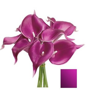 USA-10pc bundle quality real touch calla lily navy Silver Burgundy plum 60+color