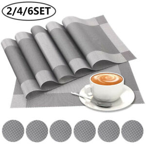 2/4/6 Set PVC Place Mats And Coasters Dining Table Placemats Non-Slip Washable