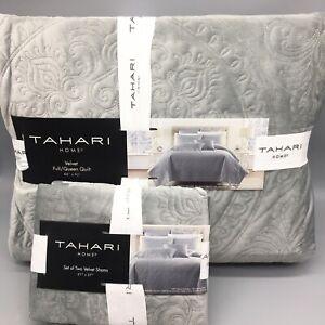 3pc Tahari Gray Paisley Medallion QUEEN Velvet Quilt Pillow Sham Set Designer