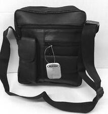 New men Genuine Leather Cross body Travel Bag Organizer Satchel Messenger Black