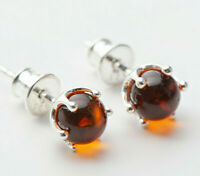 Natural Baltic Amber Cognac 925 Sterling Silver Earrings Lithuania Handmade