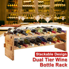 Modular Stackable Wooden 36/18 Bottle Wine Rack Timber Cellar Storage Stand Home