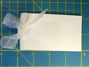 Place Cards 50 Ivory Side Fold with Bisque Flourished Design, Ribbon & Vellum