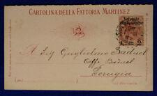 Storia Postale Pubblicitaria Fattoria Martinez Regno 2 Centesimi su 50 #SP140