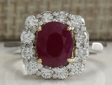 3.47 Carat Natural Ruby 18K Solid White Gold Luxury Engagement Ring
