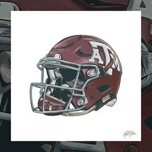 Texas A,M Aggies Football Art Poster Print, Illustrated Texas Aggies Football