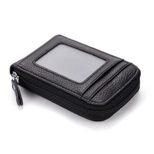 New Men's Leather Wallet Credit Card/ID Holder RFID Blocking Zipper Thin Pocket
