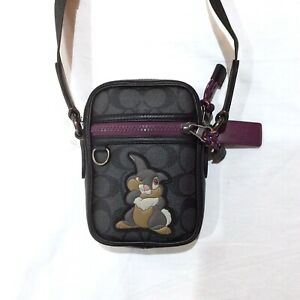 DISNEY X COACH CROSSBODY SIGNATURE Bag Thumper Black NWT