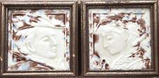 Pair of Framed Antique Hamilton Tile Works Ceramic Portrait Tiles Robin Hood
