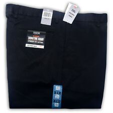 DOCKERS D2 Men Trousers Original Signature Khaki Straight Fit Flat Front Pants Black 29w / 34l