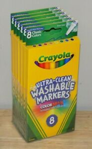 Crayola Ultra-Clean Washable Markers 8 Classic Colors Fine Line Color Max 6 Pack