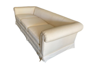GORGEOUS IVORY TUXEDO BACK CUSTOM SOFA Even Arm COUCH Vintage CHIC Only 1 Left!