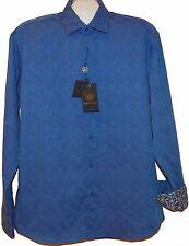 BERTIGO  Purple Blue Dots Design Cotton Men's Dress Shirt Size 5XL NEW $149