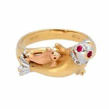 18Carat Rose, Yellow & White Gold Ruby & Diamond SEAL Ring (Size M 1/2)