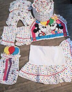Vintage Rare Disney Mickey Mouse Balloons Baby Red Calliope Nursery Crib Bedding