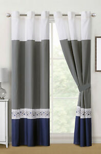 4-Pc Barb Spanish Scroll Diamond Embroidery Curtain Set Blue Gray White Grommet